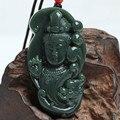 Natural Green HETIAN QING Jade Pendant Larger Size Bodhisattva Guanyin Figure Pendant Necklace Men Jade Jewelry Free rope