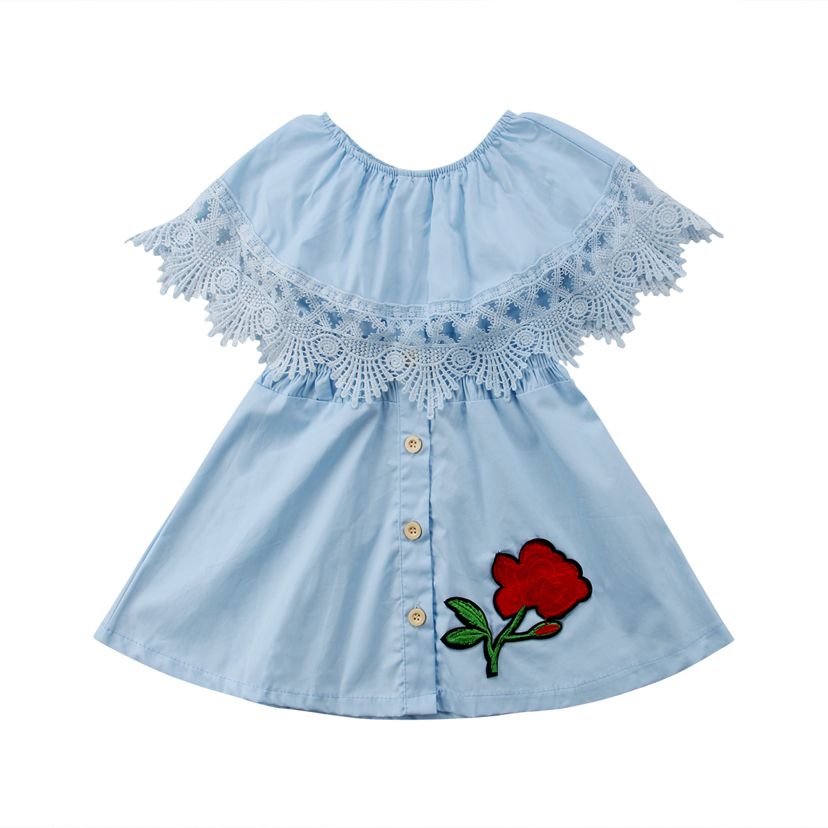 Toddler Kids Baby Girl Dress Summer Lace Ruffle Embroidery Flower ...
