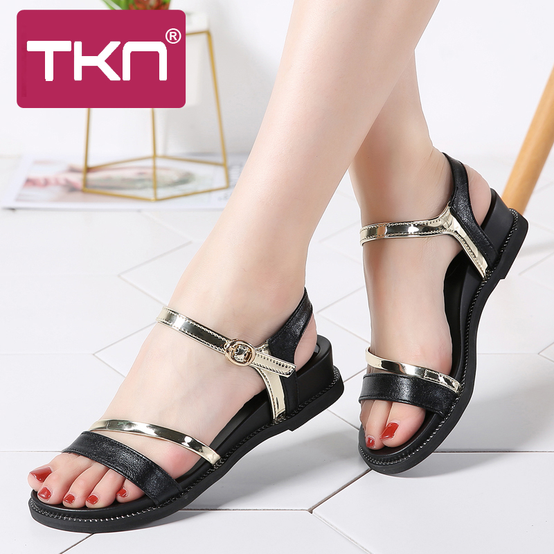 0326a8d9ce501 TKN 2018 Summer women sandals shoes Black flat sandals shoes Open Toe  ladies sandals classic sandals shoes woman sandalie 1810