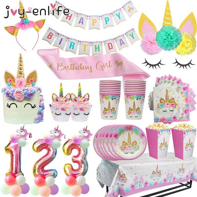Unicorn Birthday Party Decors Disposable Tableware Kit Unicorn Balloon Cups Plates Napkin Kids Birthday Unicornio Party Supplies