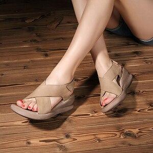 Image 5 - Женские босоножки ручной работы GKTINOO, натуральная кожа, на танкетке, Воловья кожа, высокий каблук, Нескользящие удобные летние сандалии