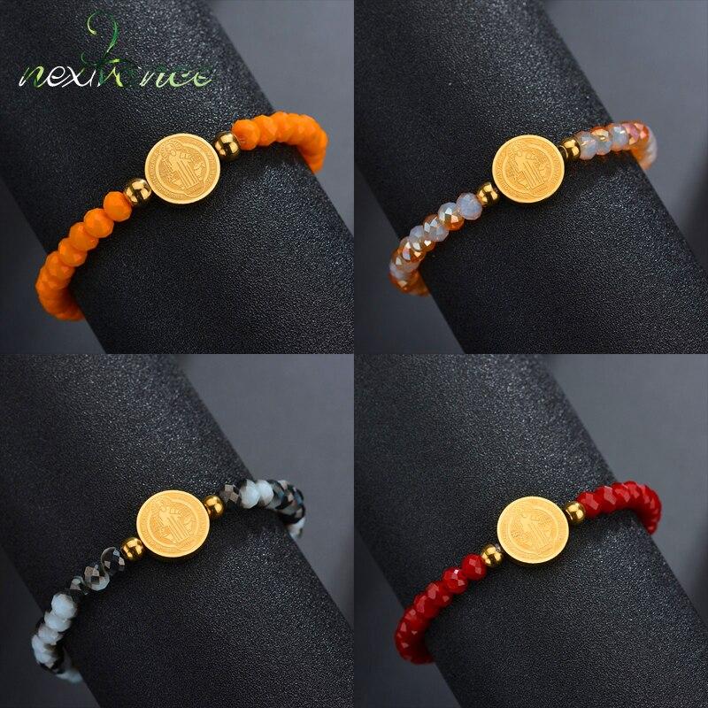 Nextvance, cuentas religiosas coloridas, brazalete con colgante redondo de Saint Benedict, pulseras de hebra de acero inoxidable para mujeres, joyería de regalo
