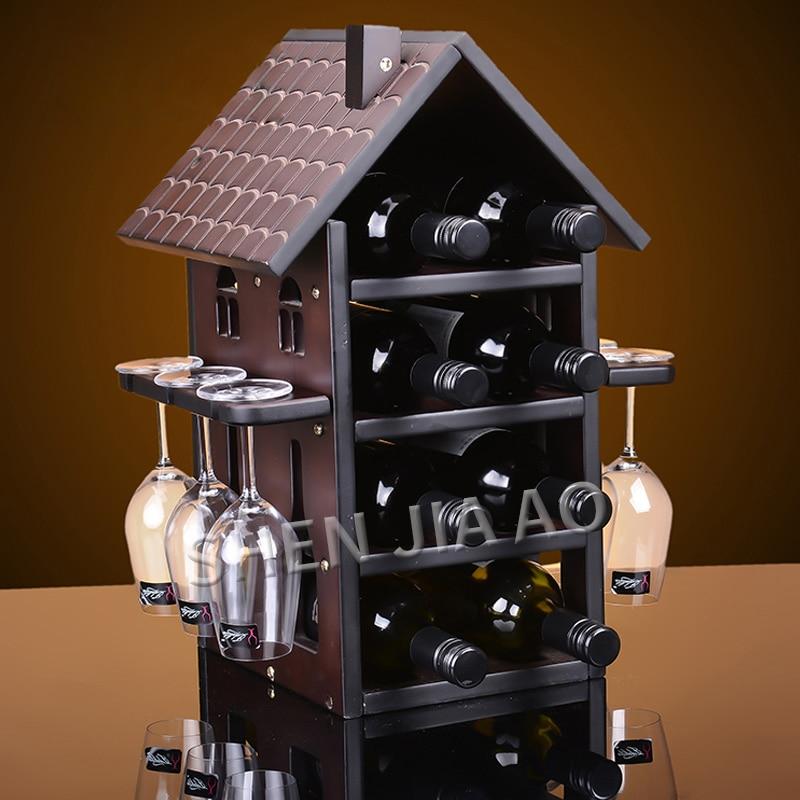 Wine Rack Wine Cooler Hanging Cup Holder Goblet Upside Down Rack Creative Wine Cabinet Wine Rack Cup Holder Hut Shape 1PC