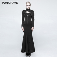 Панк RAVE стимпанк ведьмы Стильный Высокий воротник узкие длинное платье Готический Hollow молния назад повязку металлические кнопки Для женщи