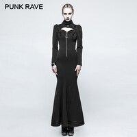 PUNK RAVE Steampunk Witch Stylish High Collar Skinny Long Dress Gothic Hollow Zipper Back Bandage Metal Button Women Dresses