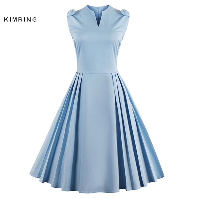 947244bbdee Kimring Women Summer Dress Retro Vintage 1950s 60s Dresses Audrey Hepburn  V-Shape Swing Rockabilly
