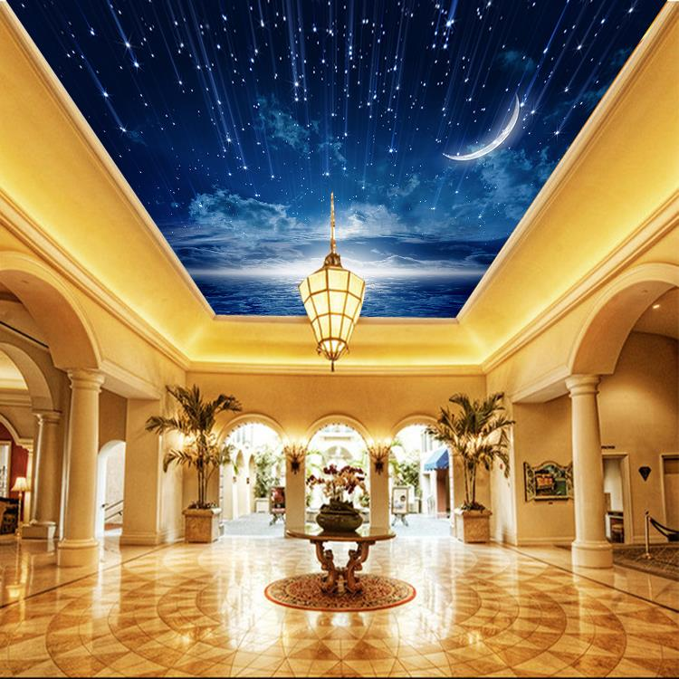 Galaxy Wallpaper 3D View Photo Wallpaper Bedroom Ceiling Room Decor Starry  Night Murals Club Living Room Charming Moon Meteor In Wallpapers From Home  ...