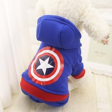 Captain American VS Batman Superhero Pet Canine Garments Pet Canines Attire for Small Canine Coat General Hoodie Jumpsuit in Winter
