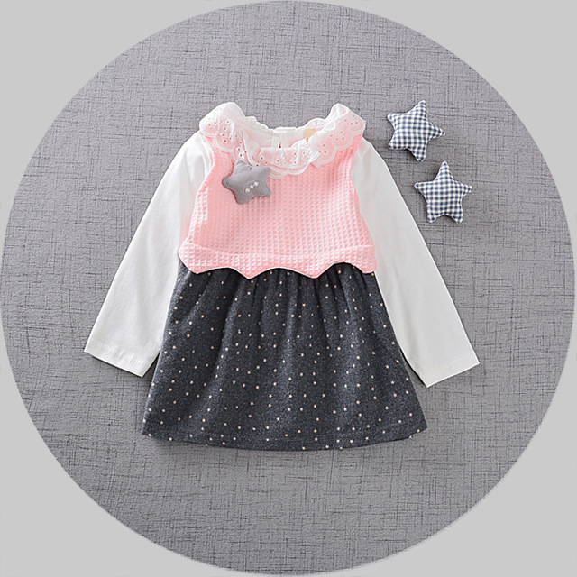 2017 Spring Long Sleeved Baby Infants Girls Kids Tutu lace neck Knitted tops Star printing hem Princess Dress Vestidos S4689