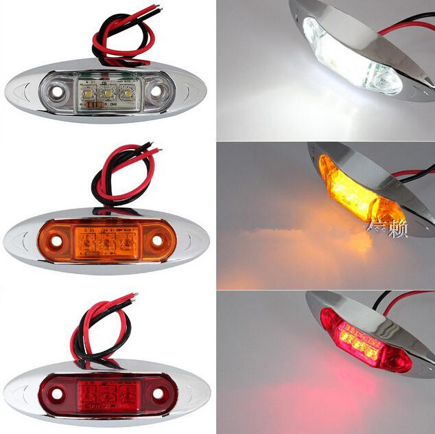 CYAN SOIL BAY 1PCS AMBER Yellow White Red Waterproof Side Marker Lights Clearance Lamp Trailer Truck Bus Car 3 LED 12V 24V cyan soil bay 10pcs 12v 24v 6led side marker indicators lights lamp for car truck trailer lorry 6 led amber clearence bus