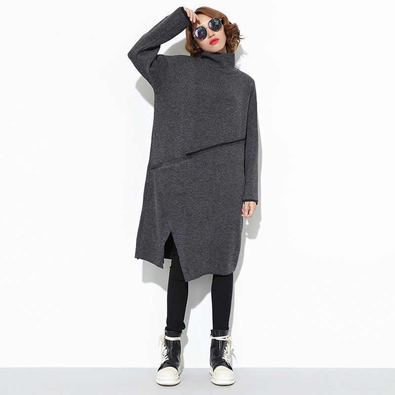 LANMREM 2018 модные женские туфли осенние Зимняя одежда с длинными рукавами в стиле пэчворк, с высоким воротником, пуловер, вязаный свитер Женское платье TA495