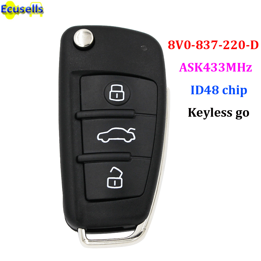keyless go folding flip smart remote key ask433mhz 3 buttons id48 chip for audi a3 suit for. Black Bedroom Furniture Sets. Home Design Ideas