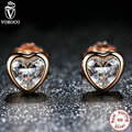 925 Sterling Silver Love Heart Stud Earrings,  Rose Gold Plated & Clear CZ Earring Female Brincos Fashion Jewelry S452