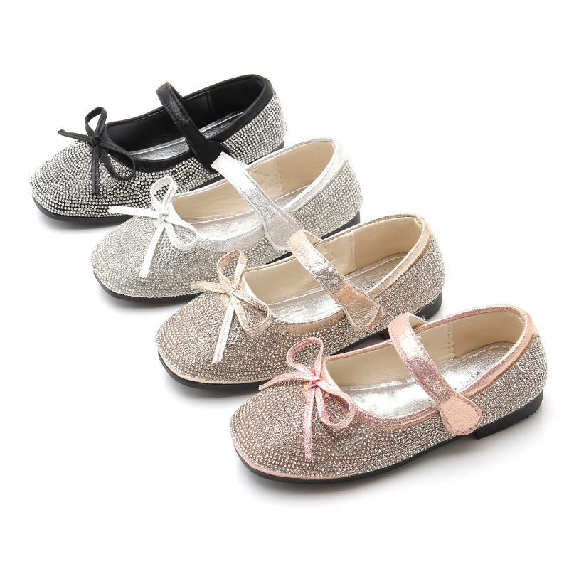 Detail Feedback Questions about Children Kids Little Girls Gold Silver  Rhinestones Glitter Princess Dress Shoes For Girls Dance Wedding Party  Leather Shoes ... 3e35223e55b9