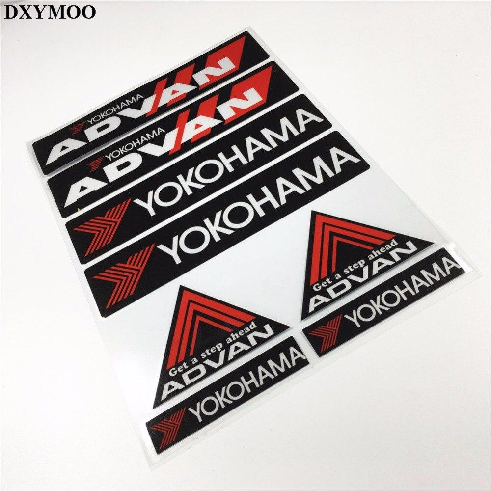 Prix pour Pack de 8 pcs voiture style moto moto vélo casque autocollant de voiture stickers pour yokohama advan