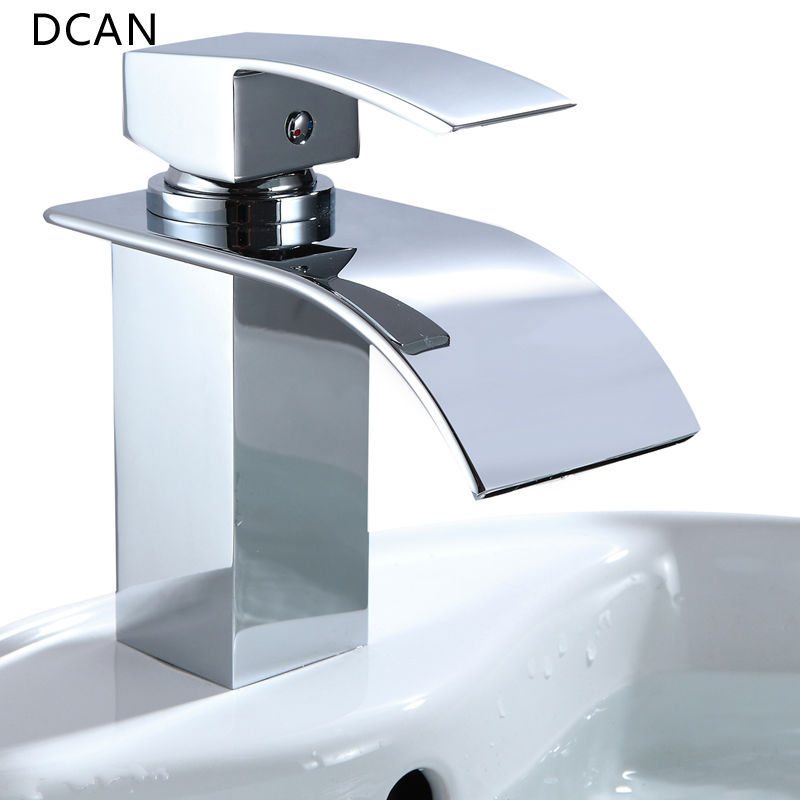 DCAN Bathroom Sink Faucets Waterfall Sink Faucet Chrome Single Handle Single Hole Hot & Cold Mixer Taps Widespread Basin Faucets