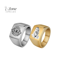 3 Color Punk Engrave Letter Word Name Photo Ring Stainless Steel Big Signet Ring Band For