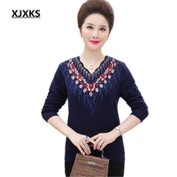 XJXKS Large Size M 4XL Women Sweater Tops Autumn 2018 New Long Sleeve Jumper Nice Collar Casual Big Pullover Plus Size Pullover