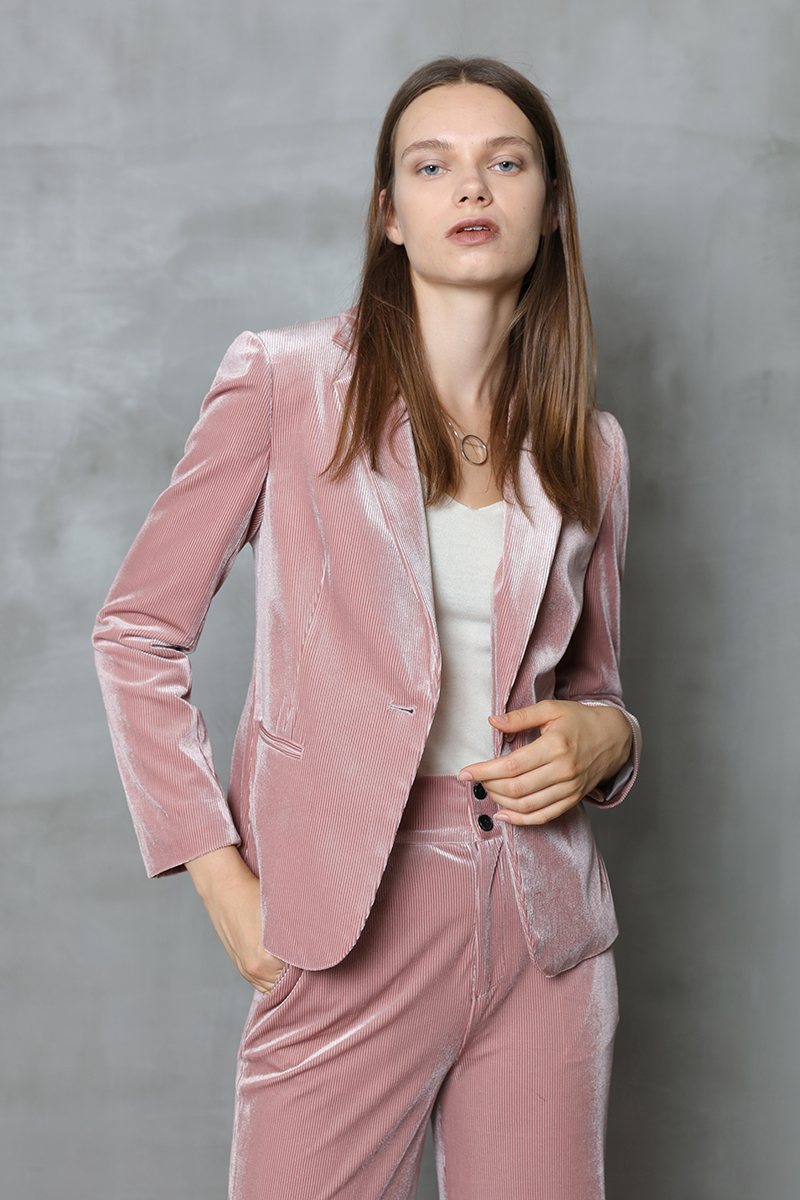 velvet pink suit jacket gold female pajamas wind stitching clothing blazers casual
