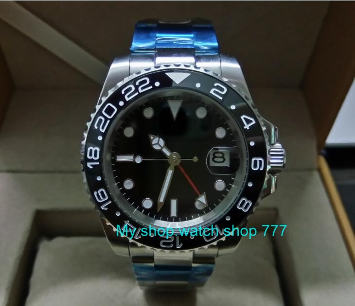 40mm PARNIS GMT Sapphire Glass Black ceramic Bezel Automatic Self-Wind movement Men Watches Mechanical watches G5 sapphire 2017 new fashion parnis 45mm black dial st2557 automatic self wind movement men s watch gmt mechanical watches 291