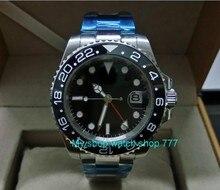 eedabafc094 40mm PARNIS GMT Vidro de Safira Painel de cerâmica Preta movimento  Automático Auto-Vento Relógios Homens relógios Mecânicos G5