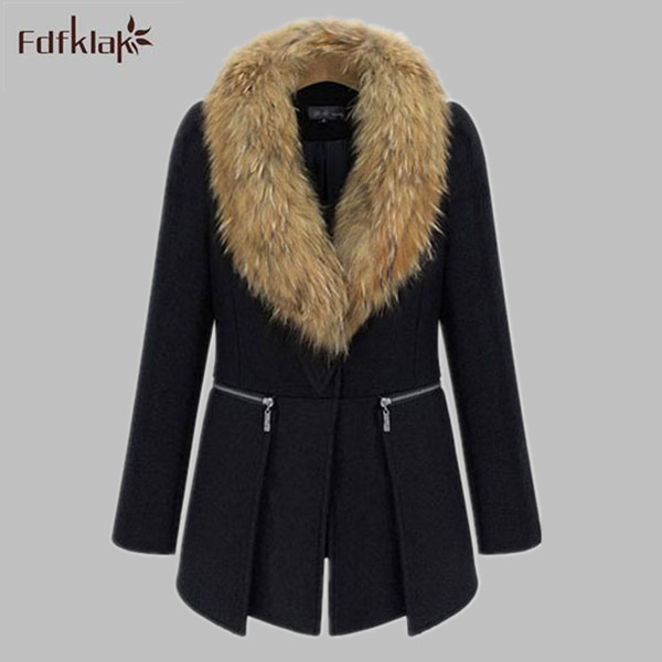 Plus Size Women Jacket 2017 New Europe Autumn Winter Coat Female Luxury Faux Fur Collar Wool Coat XL XXL 3XL 4XL 5XL 6XL E0480