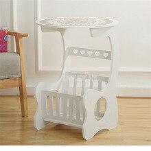 Творческий Nordic 45 см круглого стола кофейный мини-столик современная домашняя спальня журнальный столик Железный арт прикроватный столик с хранения чехол