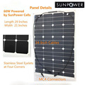60w 36V Thin PV Flexible Solar Panel For Camping RV Boat Yacht Caravan Home