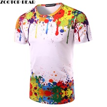 Splashed Paint Tops Summer T shirt Men Short Sleeve Novelty Printed 3D T-shirts 2017 Personality Round Neck Tees ZOOTOP BEAR