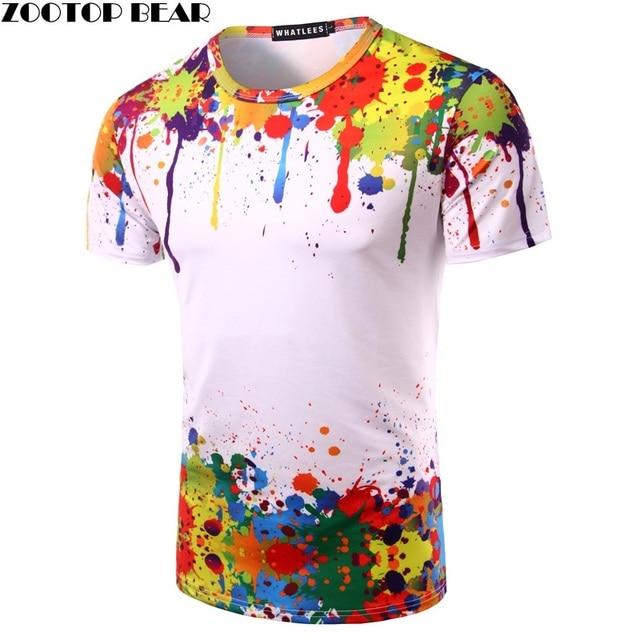 Tops de pintura salpicada camiseta de verano para hombre de manga corta  novedad impreso 3D camisetas 20a296248d6eb