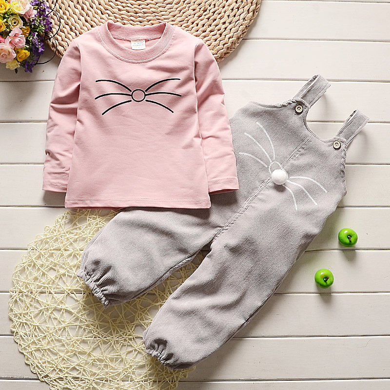 Fashion Brand Autumn Children Girl Clothes Toddler Girl Clothing Sets Cute Cat Long Sleeve TShirt And Overalls Kid Girl Clothes educa пазл стая акул 500 деталей