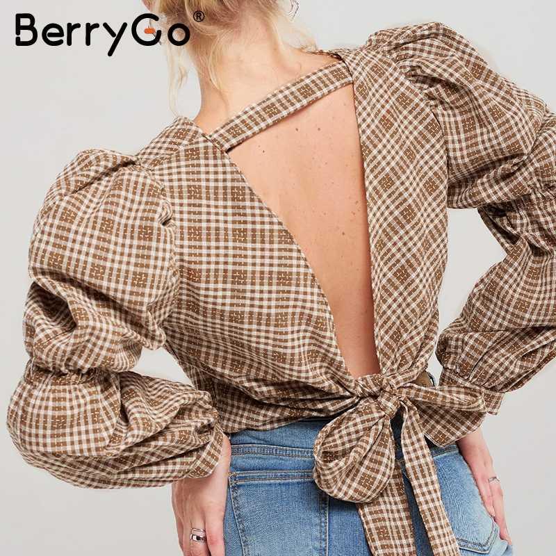 BerryGo Vintage клетчатая рубашка женская  sexy блузка  клетчатая рубашка женская sexy блузка спинка зашнуровать женский топ рубашка Осень слойка рукава негабаритных женская блузка рубашка