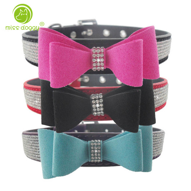 Flocking Bowknot Adjustable Velvet Leather Dog Puppy Pet Collar Necklace,Rhinestone Collars For Dogs,Cat collar perro,Size S M L