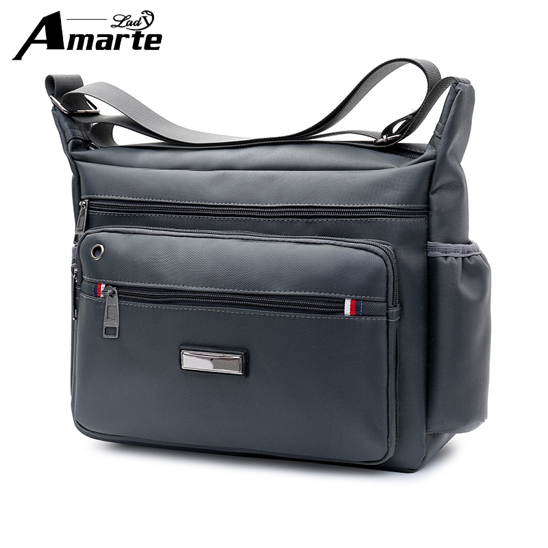 Amarte Men Bag 2018 New Fashion Mens Shoulder Bags High Quality Oxford Casual Messenger Bag Business Men's Travel Bags luxury ultra slim leather case cover for apple ipad pro 10 5 2017 fashion simple solid flip stand case protective shell funda