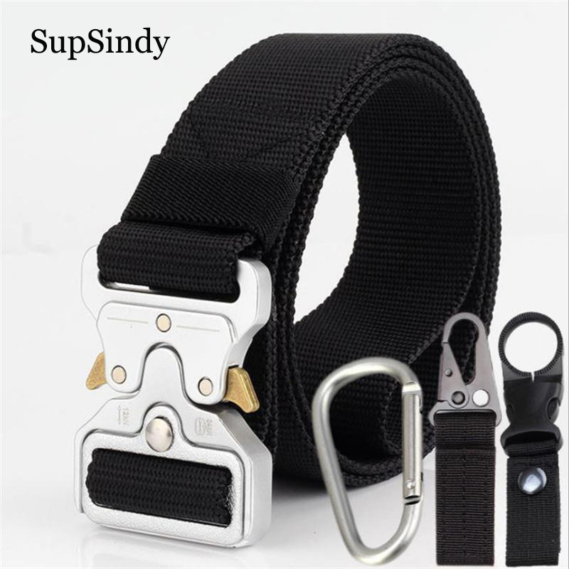 SupSindy Men canvas   belt   Quick release Metal buckle nylon Training   belt   military Army cobra tactical   belts   for Jeans male strap