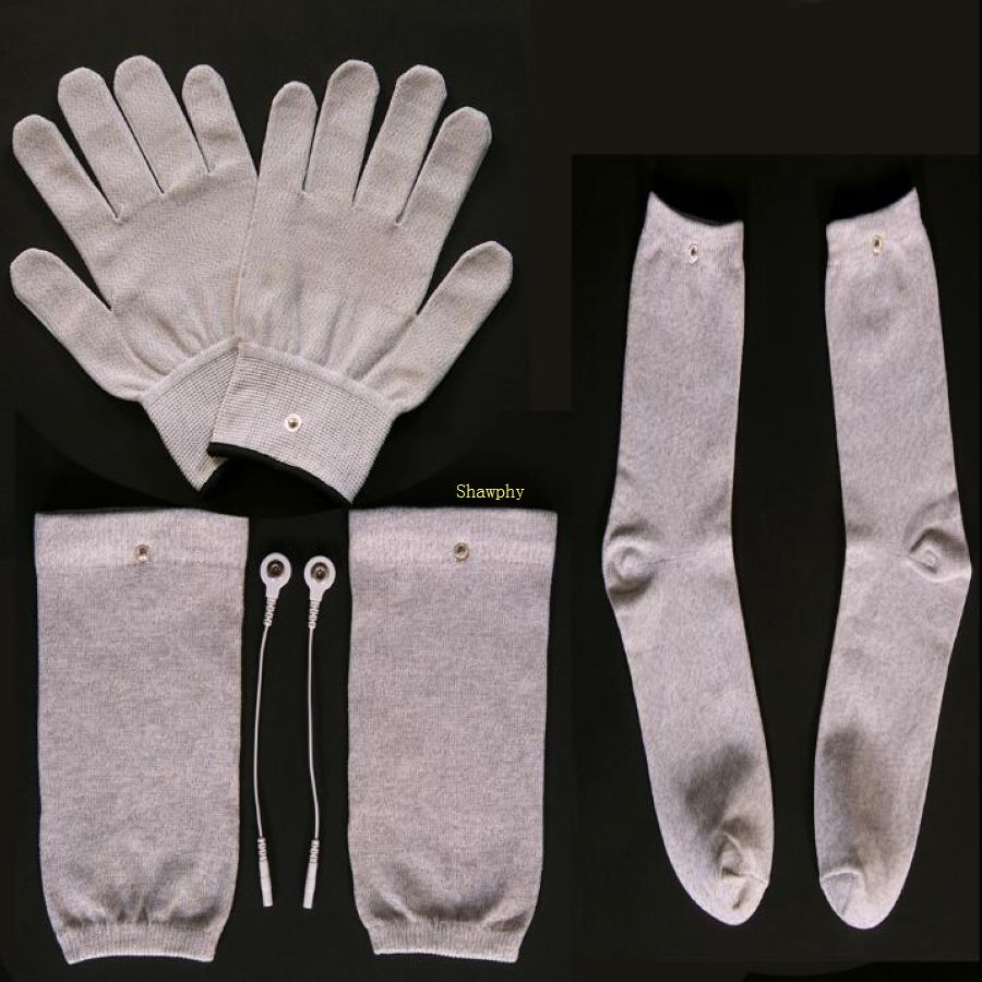 Conductive Silver Fiber TENS/EMS Electrode Therapy Gloves+Socks+Knee Pads+cable Electrotherapy Unit For Phycical Foot Massager