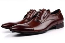 Large size EUR45 Brown tan / black oxfords shoes mens business shoes genuine leather dress shoes 2017 new mens wedding shoes