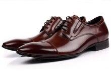 Grande taille EUR45 Brun tan/noir oxford chaussures hommes chaussures en cuir véritable robe d'affaires chaussures 2017 nouveaux hommes de mariage chaussures