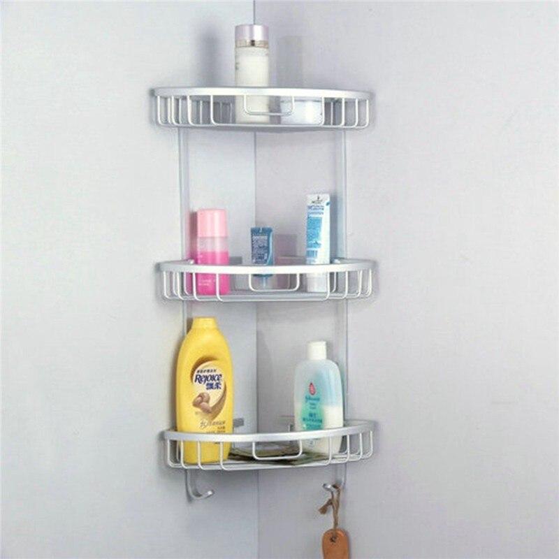3 Sizes Space Aluminum Triangular Shower Caddy Shelf Bathroom Corner ...