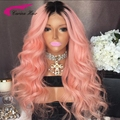 8A Grade Brazilian Virgin Hair Full Lace Wigs with Baby Hair Ombre Pink Hair Color Lace Front Human Hair Wigs Long Glueless Wigs