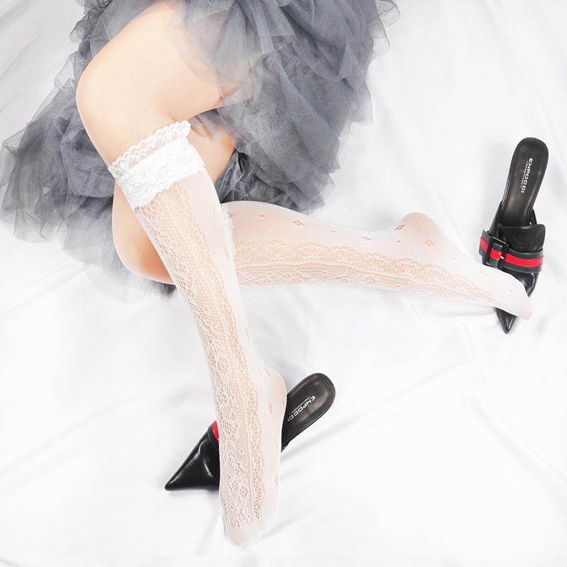 White Lace Socks Women Ultra thin Fishnet High Knee Socks Transparent Long Socks Pantyhose Leg Stocking High Elastic in Stockings from Underwear Sleepwears