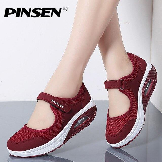 PINSEN 2019 Yaz Moda Kadınlar Düz platform ayakkabılar Kadın Nefes Örgü rahat ayakkabılar Mokasen Zapatos Mujer Bayanlar Tekne Ayakkabı