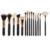 15 unids Oro Rosa Pinceles de Maquillaje Profesional Set Alta Calidad Negro Cosméticos Fundación Polvo de Sombra de Ojos Pincel de Abanico Kits de Herramientas