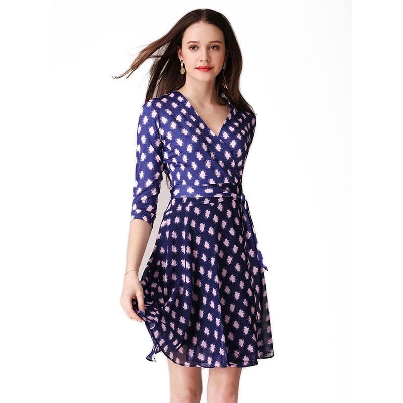 fd29deee8d045 Bayanlar Rahat Polka Dot Baskı şifon elbiseler 2019 Yaz Kadın V Yaka  Kırpılmış Kollu Kısa Mavi Wrap Elbise