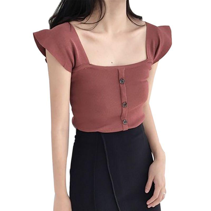 Women Summer Vest Solid Sleeveless Button Knitted   Tank     Top   Slim