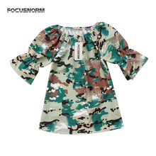 53a05072b1 cool Camouflage Kids Baby Girls summer Dresses army green Long Sleeve Party  Clothes half flare sleeve Toddler girl Dress 2018