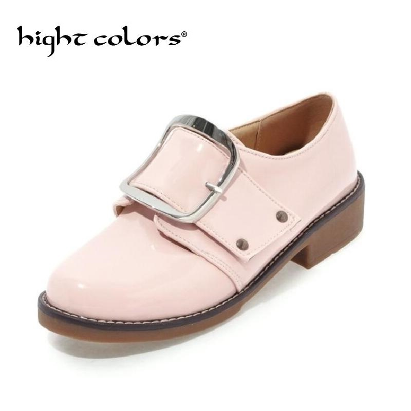2018 Spring New Women's Shoes Casual British Style Women Oxfords Fashion Buckle Slip-On Summer Shoes Woman Flat Leather Shoes ladies shoes 2018 spring british style multicolor leather shoes square head slope thick soles shoes fashion fit flat shoes
