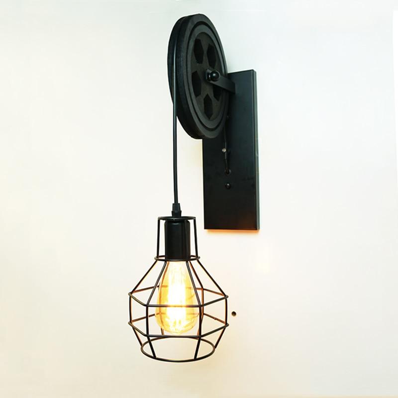 CE vintage polea lámpara de pared retro loft barra de luz porche pasillo corredor pabellón restaurante bar cafe luz Villa Fondo sujetador