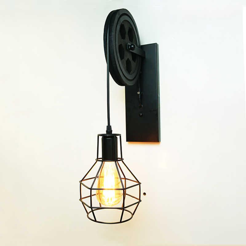 CE винтажный шкив настенный светильник Ретро Лофт свет бар веранды, коридора павильон бар ресторан кафе свет фон с изображением виллы бюстгальтер