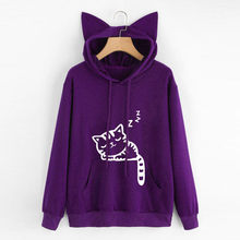 CHAMSGEND 2019 Sweatshirts Women Hoodies Sleeping cat Print Long Sleeve Cat Ear Sweatshirt Drawstring Hooded Pullover Tops F716(China)